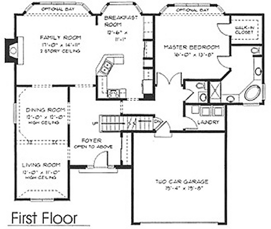 1 1 2 story floorplans for Single story floor plan